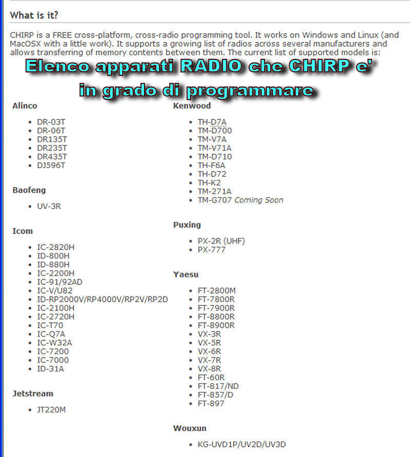 CHIRP software GRATUITO di Programmazione MEMORIE Yaesu Kenwood Icom